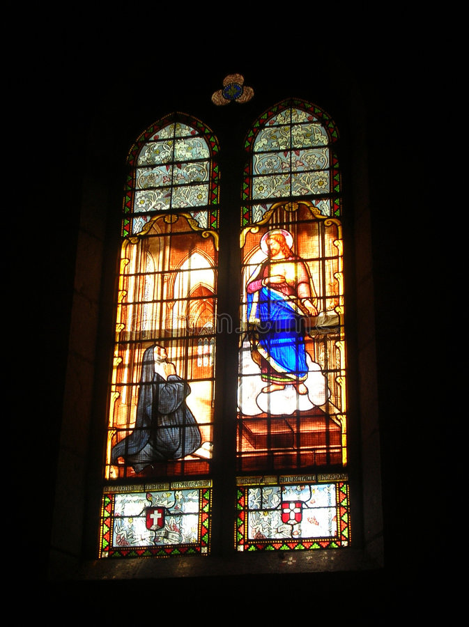 Stained glass window. A stained glass window of Mary and Jesus royalty free stock photos