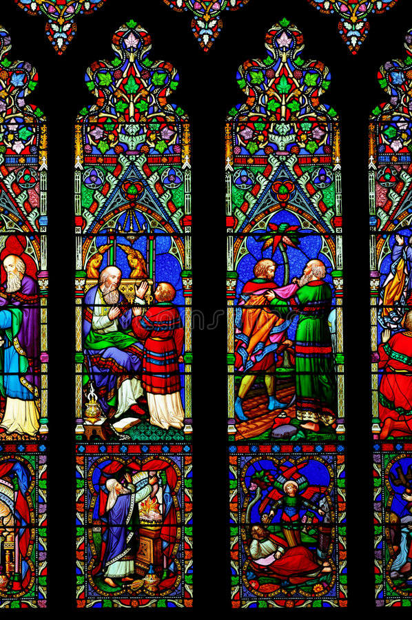 Stained glass window. Of the Chester Cathedral, United Kingdom stock photography