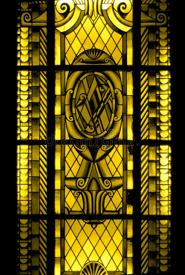 Stained-glass window. Ntique stained glass windows in the hotel 1850 years stock photos