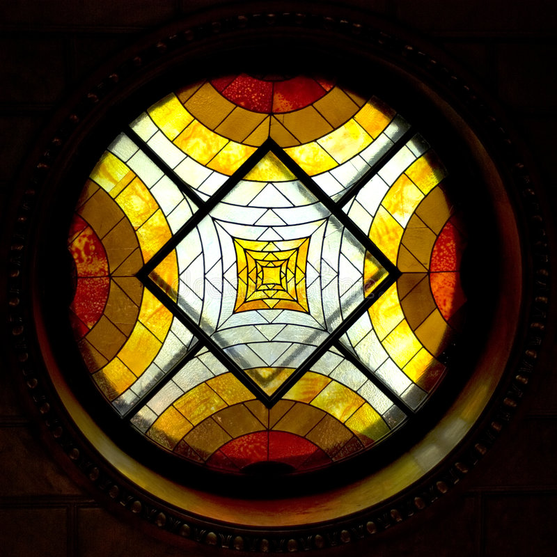 Stained-glass window. Ntique stained glass windows in the hotel 1850 years stock photo