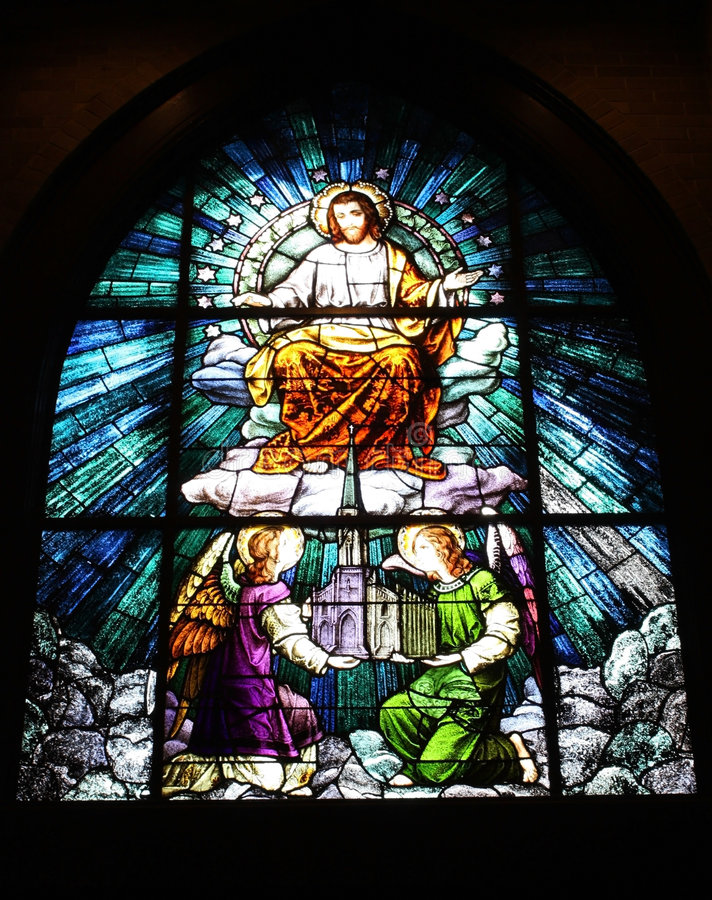 Stained Glass Window. In a Catholic Church royalty free stock image