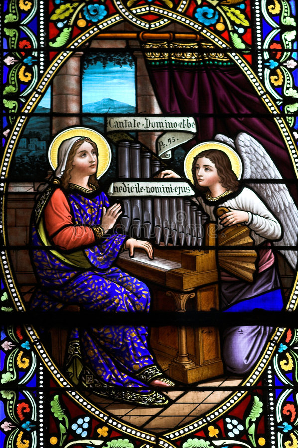 Stained glass window. With biblical image stock photos