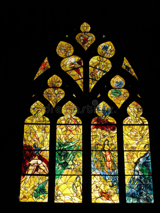 Stained-Glass Window. Chagall's Stained-Glass Window representing the Original Sin (Cathedral of Metz, France stock photo