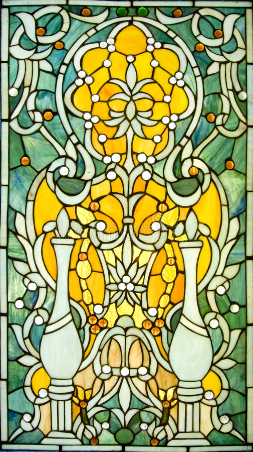 Stained Glass Window. Backlit victorian-style stained glass Window stock photo