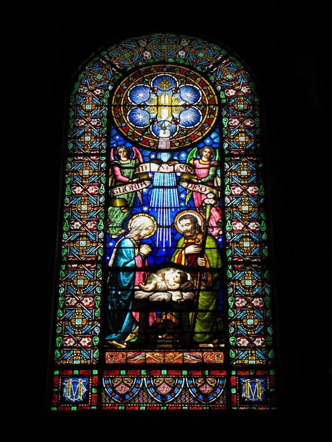 Nativity scene. Stained glass window in the Monastery Montserrat, Spain. stock image