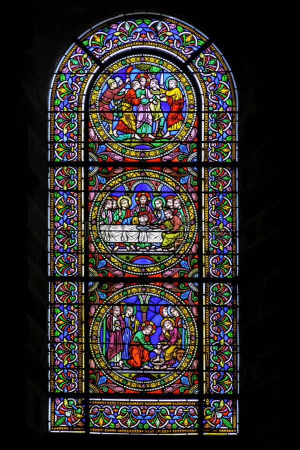 Stained glass window at Cathedral of Saint Julian in Le Mans, Maine, France. Stained glass window at Cathedral of Saint Julian / Cathedrale St-Julien du Mans in royalty free stock photography