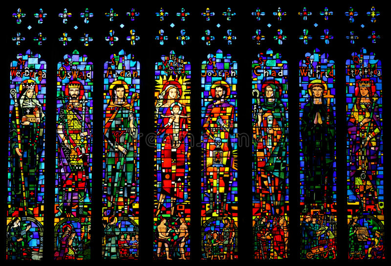Stained Glass Window In Chester Cathedral, UK Stock Photo