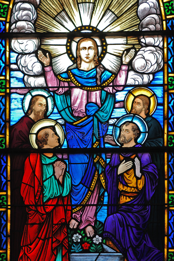 Stained glass window of Christ and his disciples stock photography