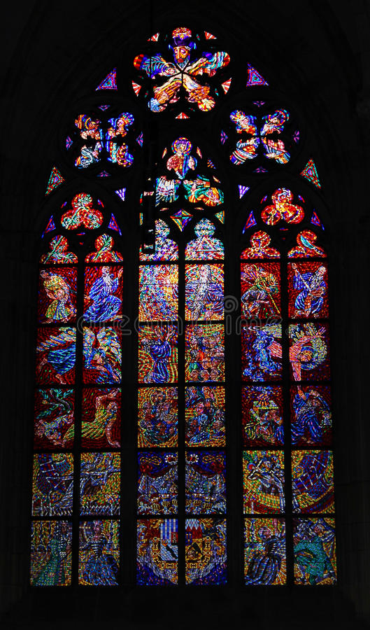 Stained glass window in the church stock photography