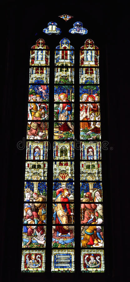 Stained glass window in church Saint Walburga,. OUDENAARDE, BELGIUM-JUNY 23, 2015: Stained glass window in church Saint Walburga, known from 11 century royalty free stock images
