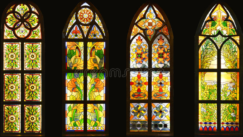 Stained glass window,colorful glass window, stock images