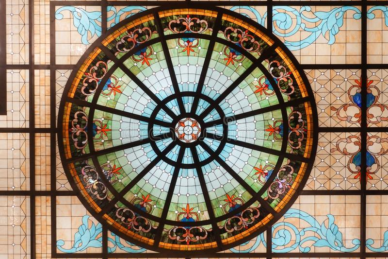 Stained glass ceiling,colorful glass window Concentric circle pattern. Stained glass window,colorful glass window,Stained glass church window stock photography