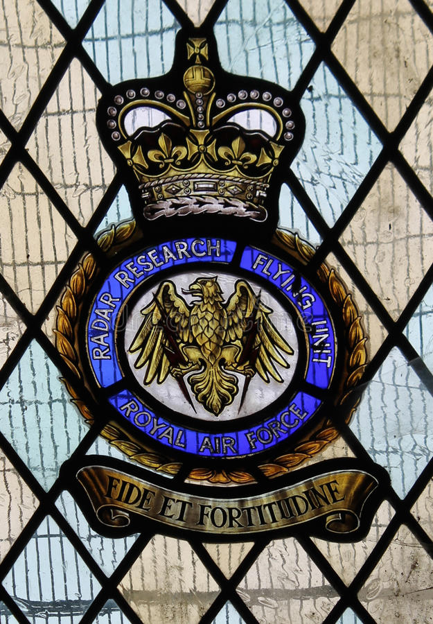 Stained glass window commemorating British Radar Research Flying Unit royalty free stock image