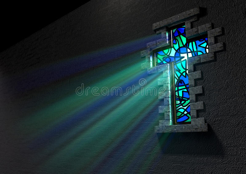 Stained Glass Window Crucifix stock illustration