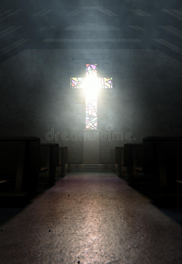 Stained Glass Window Crucifix Church. A dim old church interior lit by suns rays penetrating through a stained glass window in amongst rows of church pews royalty free stock photography