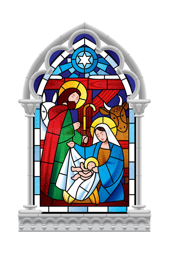 Stained glass window depicting Christmas scene in gray gothic fr royalty free illustration