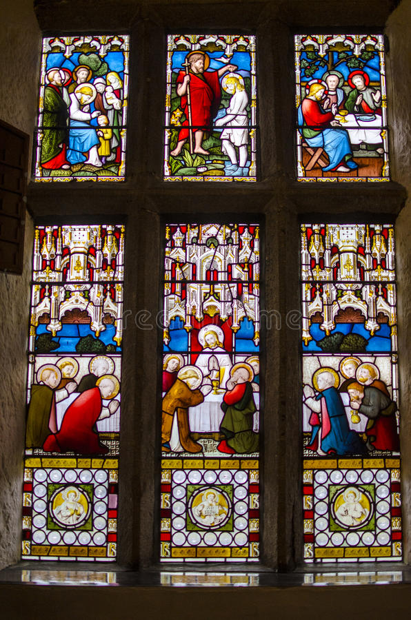 A stained glass window depicting the last Supper royalty free stock images