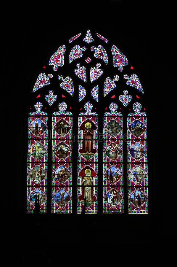 Stained glass window. Detail Quimper, France stock photo