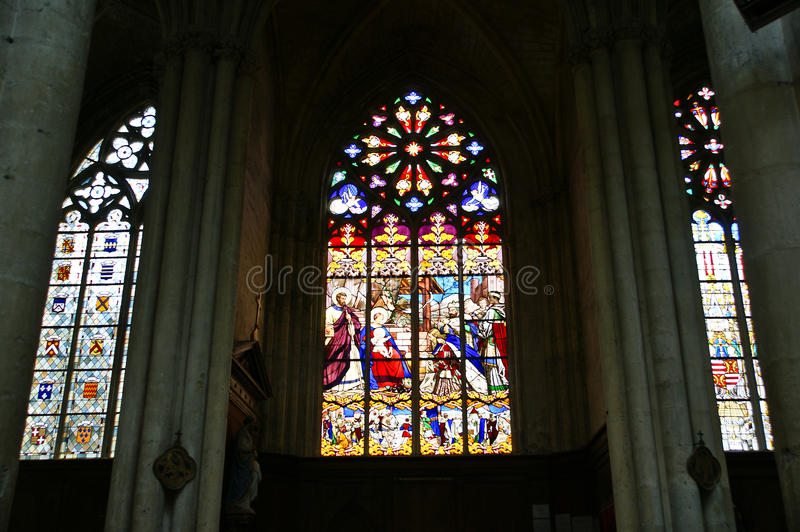 Download Stained Glass Window Gothic Cathedral Of Saint Gatien Stock Image