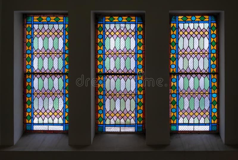 Stained glass window for interior design stock photos