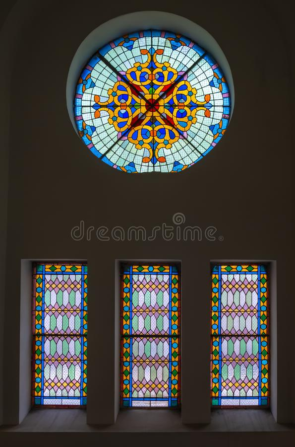 Stained glass window for interior design stock image