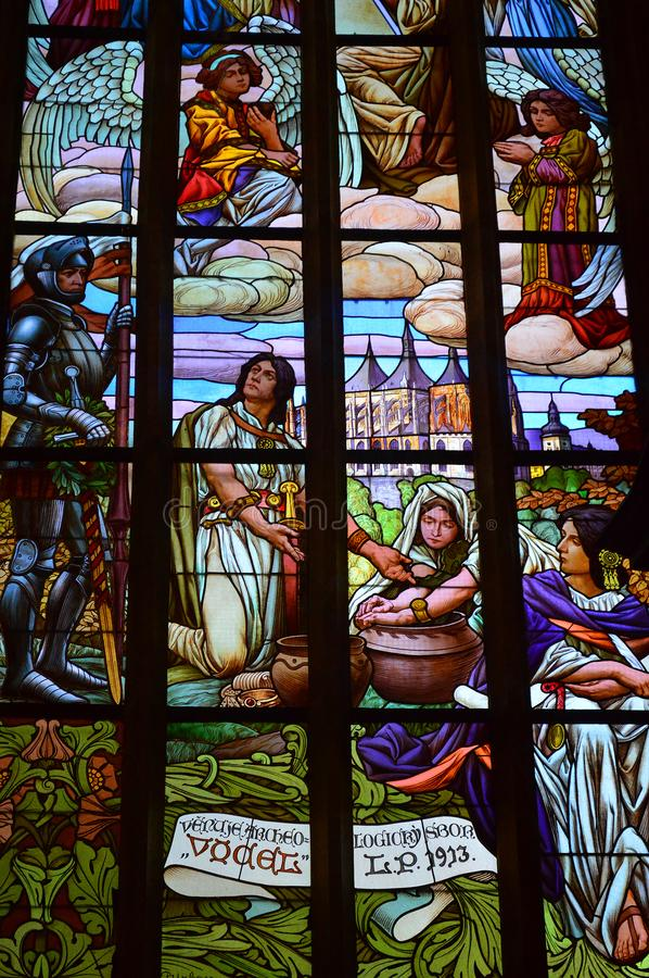 Stained Glass Window - Interior Of St Barbara`s Church, Kutna Hora, Czech Republic stock images