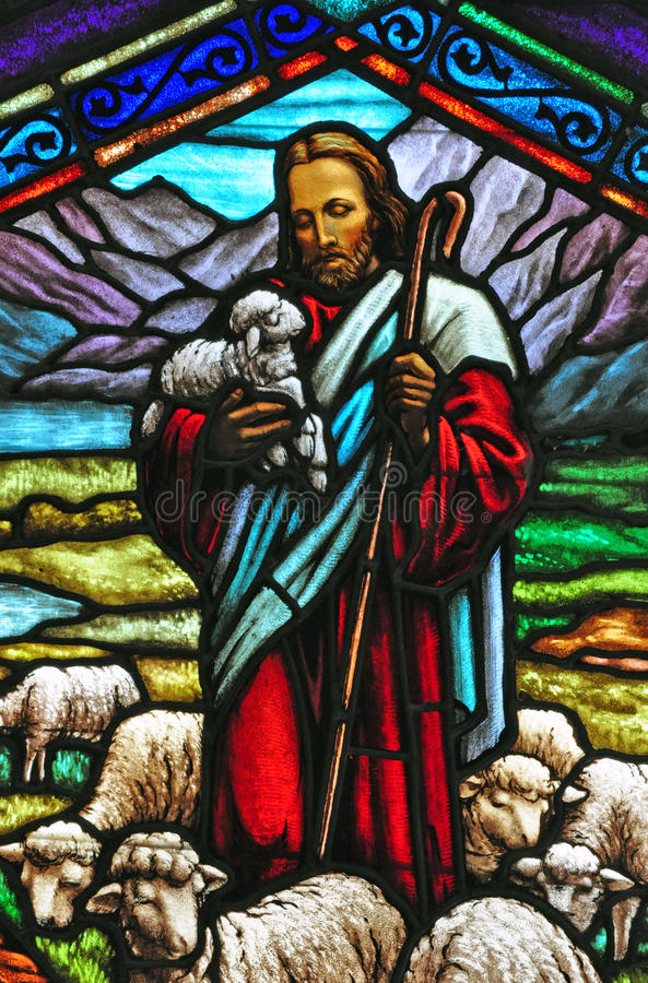 Download Stained Glass Window With Jesus Stock Photo