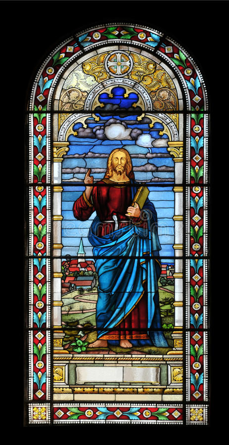 Stained glass window with Jesus. In church, Latvia stock image