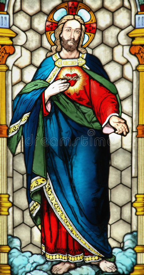 Download Stained Glass Window Of Jesus Stock Image
