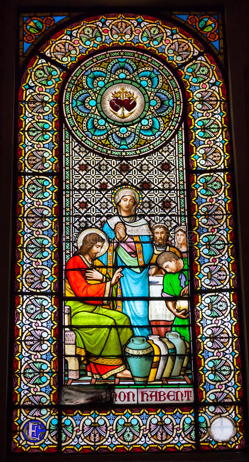 Free Stained Glass Window Jesus Mary Cana Monastery Montserrat Stock Photo - 28381410