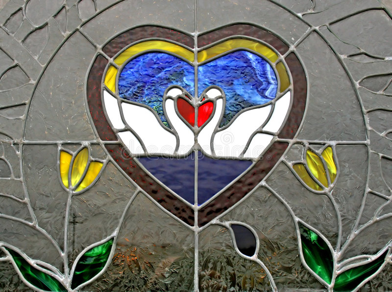 Stained Glass Window Kissing Swans stock images