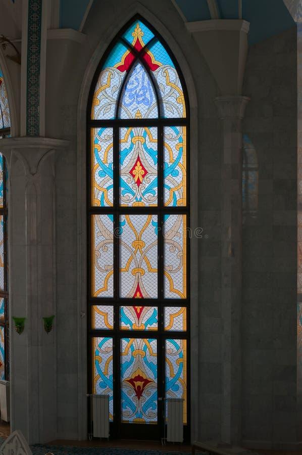 Stained-glass window in Kul Sharif mosque in Kreml. Stained-glass window in Kul Sharif mosque in Kazan Kremlin. Kazan. Russia stock image