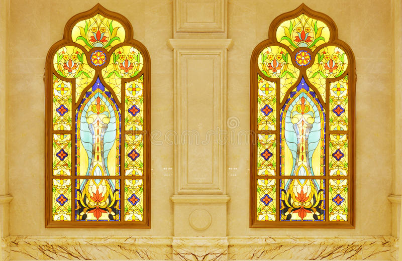 Stained glass window. On marble wall royalty free stock photography