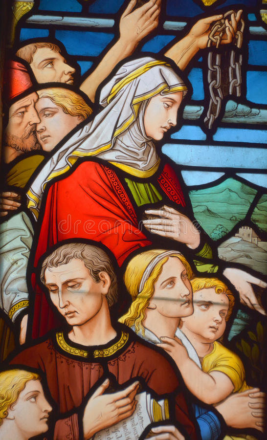 Stained glass window,. MONTREAL CANADA 03 30 2017 : Stained glass window, Christ Church Cathedral is an Anglican Gothic Revival cathedral in Montreal, Quebec stock photography