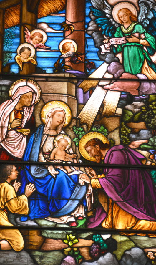 Stained glass window. MONTREAL CANADA 03 30 17: Stained glass window of Saint Joseph Oratory of Mount Royal Crypt church altar is a Roman Catholic minor basilica royalty free stock images