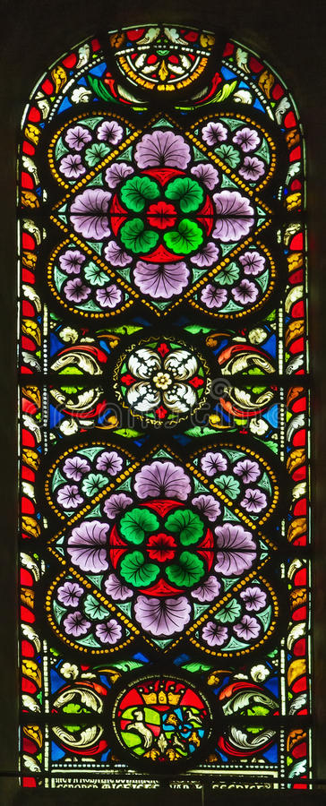 Stained-glass window. In Munsterkerk church, Roermond,Netherlands stock images