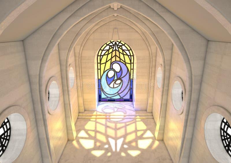 Stained Glass Window Nativity Scene stock illustration