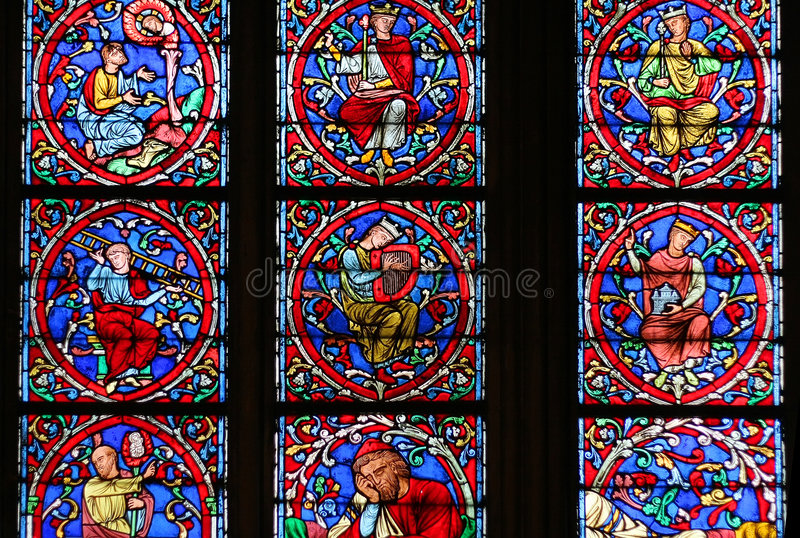 Stained-glass window of Notre Dame de Paris. France stock image