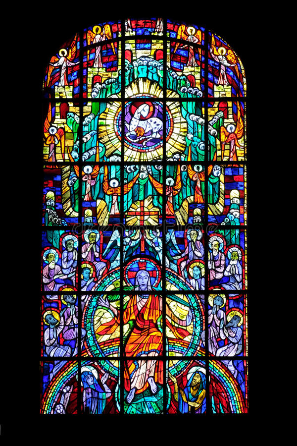 Stained glass window in Parish Church of the Holy Blood in Graz. Styria, Austria on January 10, 2015 royalty free stock image