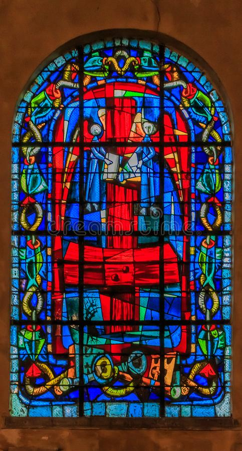 Stained glass window at Paroisse Saint Pierre de Montmartre or Church of Saint Peter of Montmartre one of oldest churches in Paris stock image