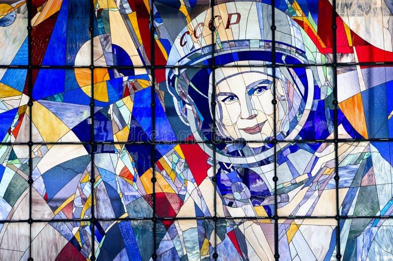 Stained-glass window in Planetarium in Yaroslavl royalty free stock photos