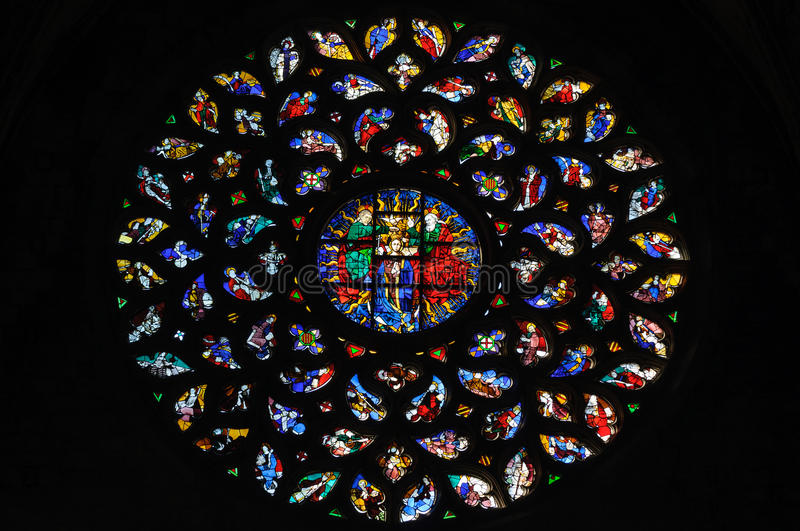 Stained glass window in Santa Maria del Mar church. stock photography