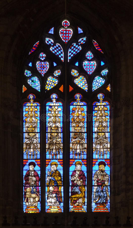 Stained-glass window in Seville cathedral, Spain. Andalusia royalty free stock photos