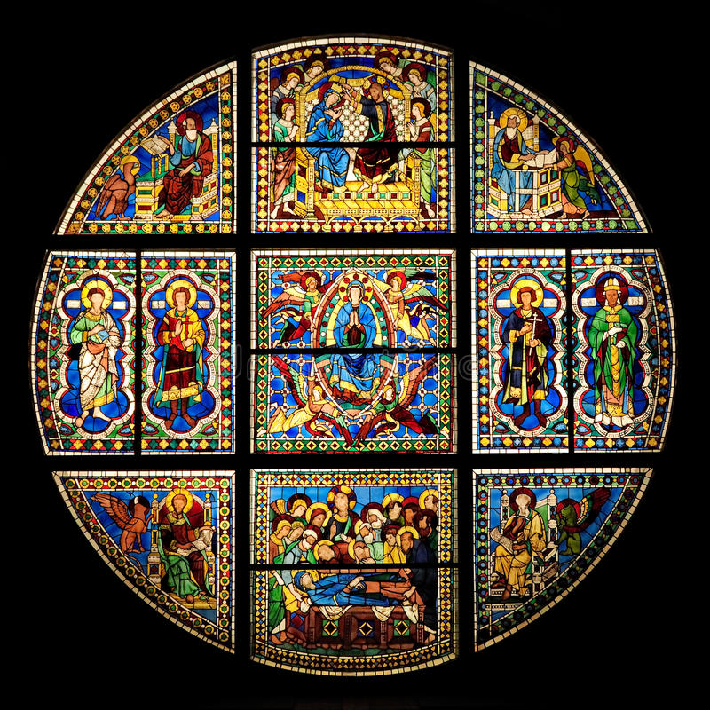 Stained-glass window in Siena Cathedral (duomo) stock photography