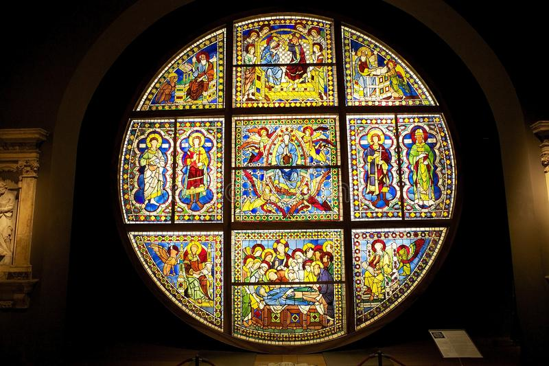 Stained glass window from the Siena Cathedral, Tuscany, Italy stock photos