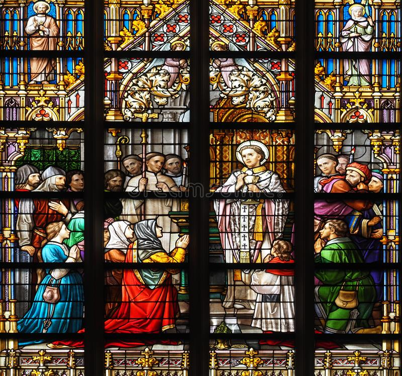 Stained Glass Window in St Jan, `s Hertogenbosch royalty free stock image