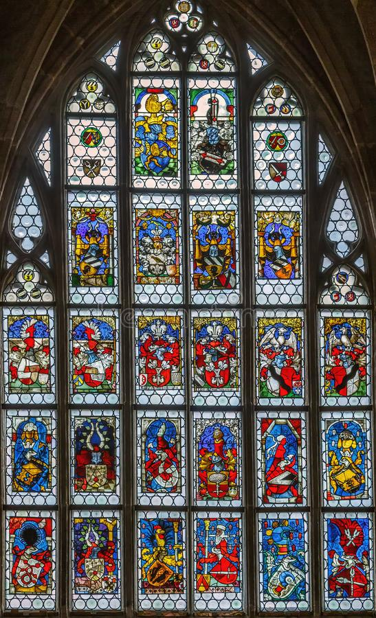 Stained-glass window, Nuremberg, Germany. Stained-glass window in St. Lorenz church, Nuremberg, Germany royalty free stock photo