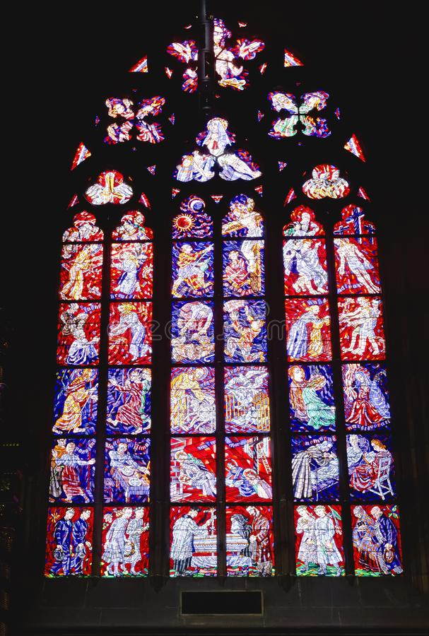 Stained glass window of St. Vitus Cathedral in Prague castle, Prague, royalty free stock photography