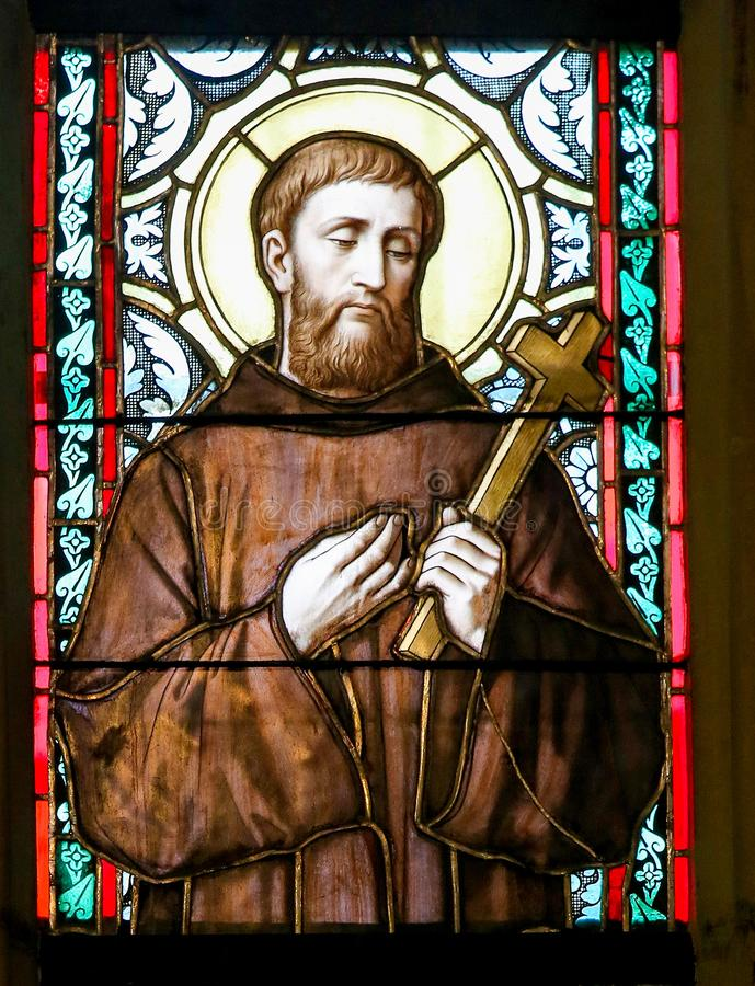 Stained Glass - Saint William of Gellone. Stained Glass window in St. Vitus Cathedral, Prague, depicting Saint William of Gellone, also known as William of stock image