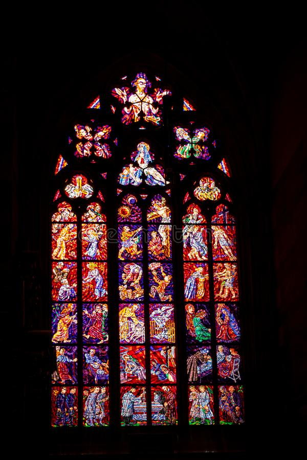 Stained glass window in St Vitus Cathedral, in Prague stock photography